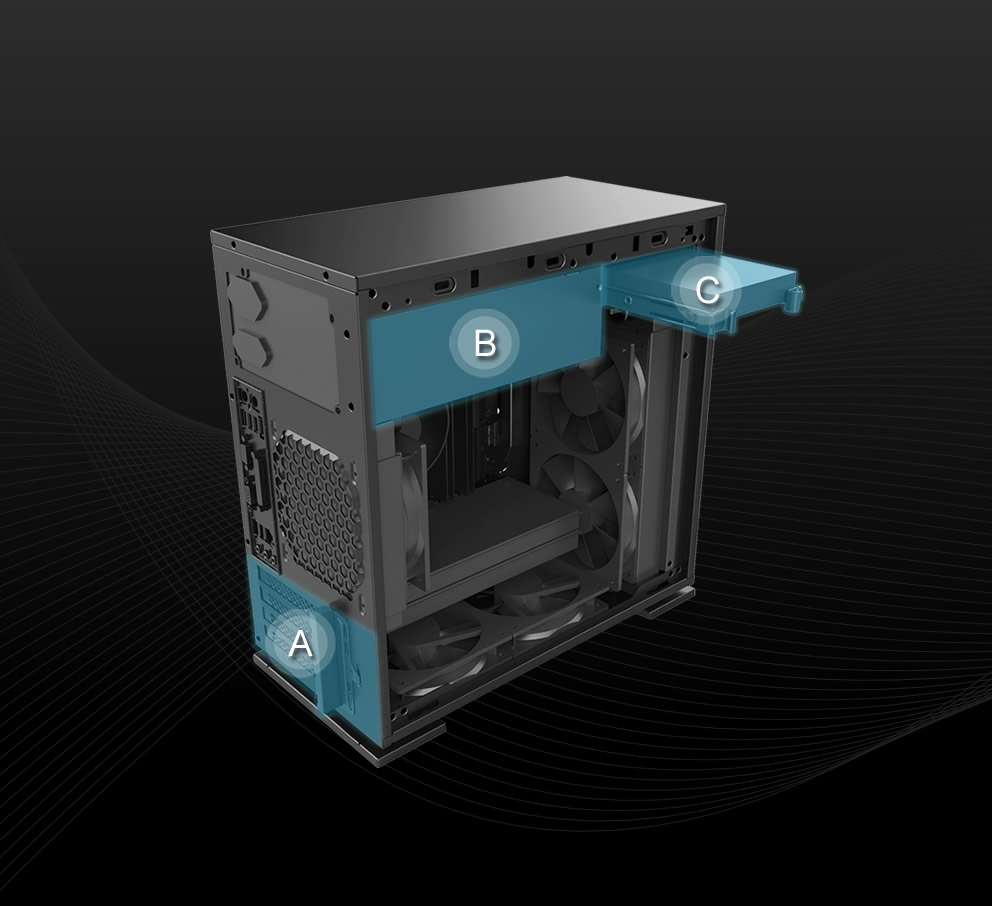 In-Win 301 Black - Full Side Tempered Glass Mid-Tower Case 6
