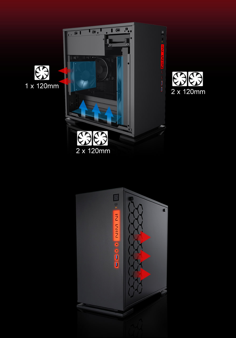In-Win 301 Black - Full Side Tempered Glass Mid-Tower Case 10