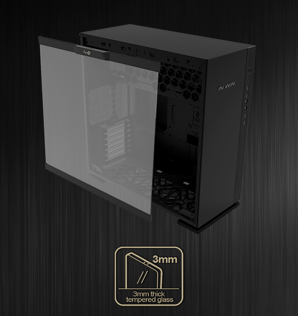 In-Win 305 Black - Full Side Tempered Glass Mid-Tower Case 5