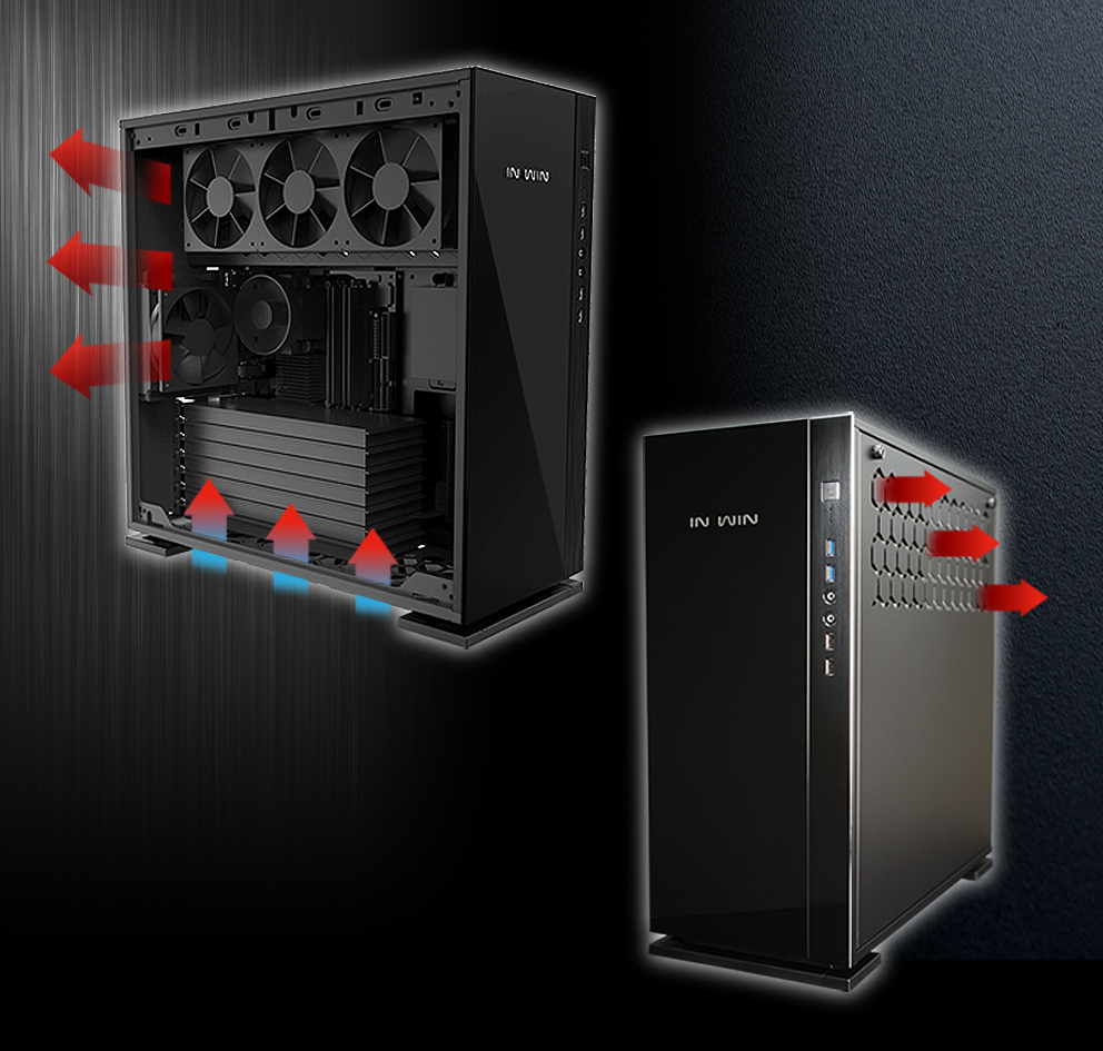 In-Win 305 Black - Full Side Tempered Glass Mid-Tower Case 7