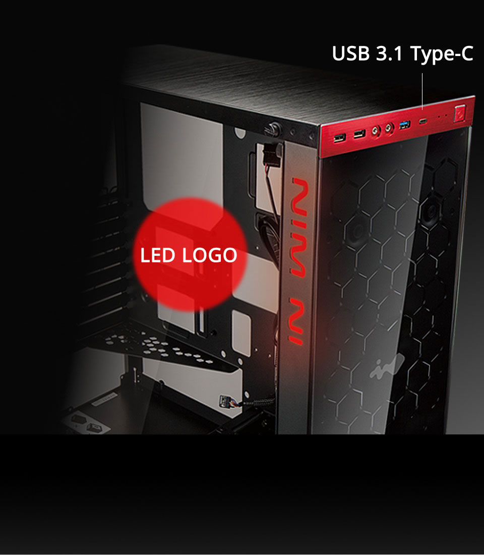 In-Win 805 Red/Black Type C - Aluminium & Tempered Glass Mid-Tower Case 17